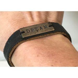"Sterling Silver & Black Leather ""DREAM"" Bracelet"